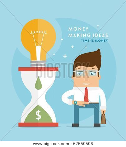 Money Making Ideas Concept, Time is Money. Vector Business Man. Flat Style Design.
