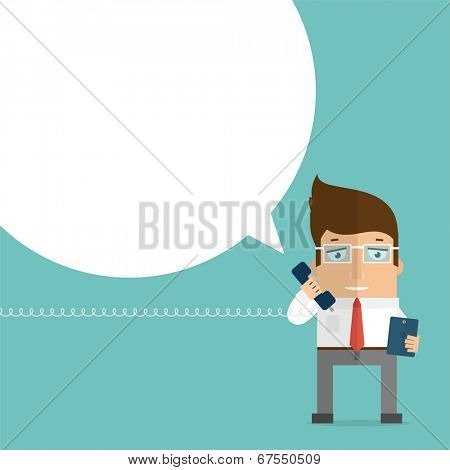 Businessman with Vintage Phone Handset and Mobile Phone. Speech Bubble for Text.