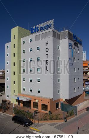 VALENCIA, SPAIN - JUNE 29, 2014: An Ibis Budget Hotel in Valencia. Ibis Budget is an international chain of basic-service budget hotels owned by the Accor Group with over 370 hotels in Europe.