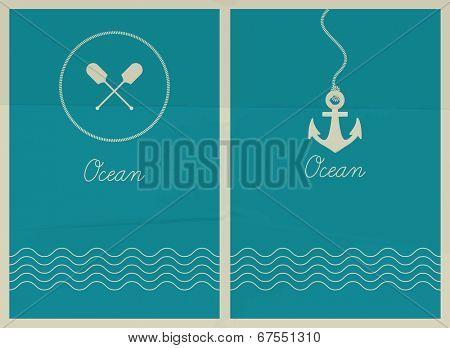 Vector ocean. Hipster web media backdrop. Badge label over sea background. Editable. Unfocused. Ocean