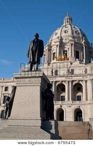 Knute Nelson Statue In Front Of The Minnesota State Capitol Building