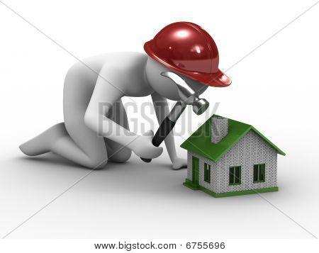 Construcción de viviendas sobre fondo blanco. Aislado de la imagen 3D