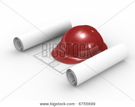 Red Helmet And Project On White Background. Isolated 3D Image