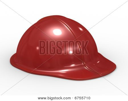 Red Helmet On White Background. Isolated 3D Image