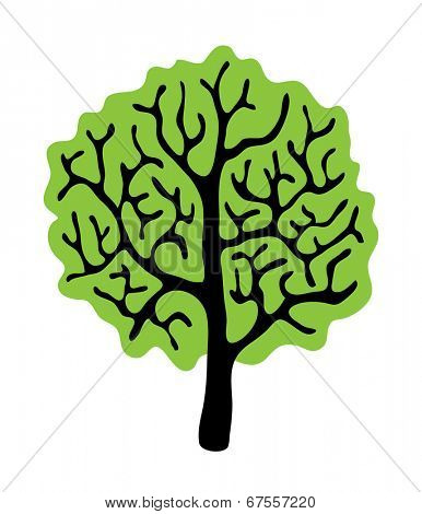 green tree isolated on white background, vector illustration