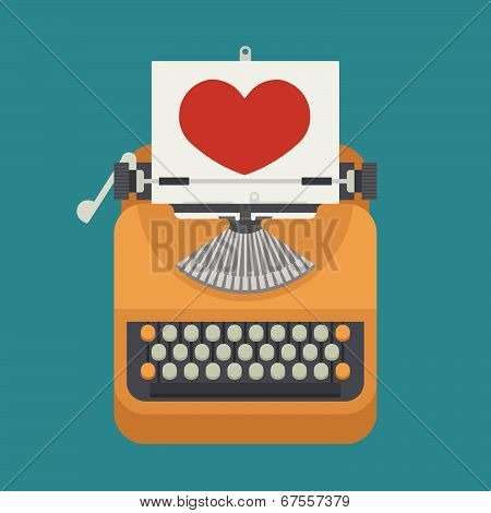 Vintage Typewriter And Red Heart On Paper Sheet
