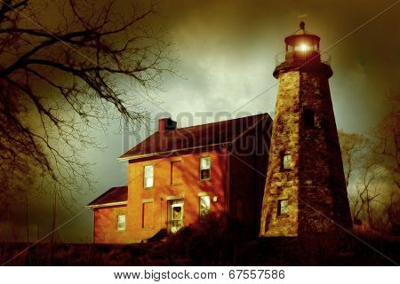 A snowless winter, vintage-style, colored image of a stone lighthouse and brick keeper's quarters.