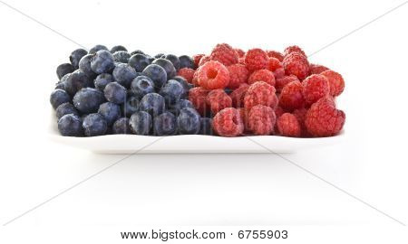 Blueberries And Rasberries In A Dish