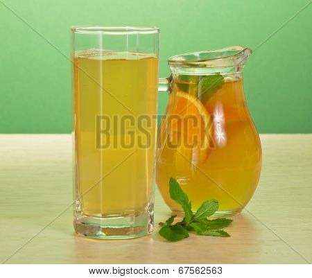 Tea, orange drink and spearmint