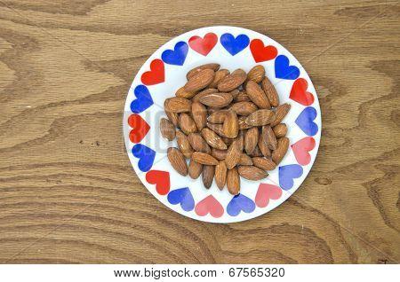 Almond Kernels In Ceramic Plate