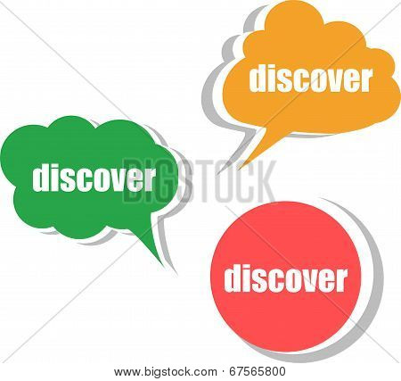 Discover. Set Of Stickers, Labels, Tags. Business Banners, Template For Infographics
