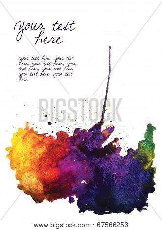 Vector watercolor stain isolated on white with place for text