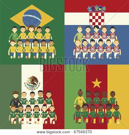 Football Team And Flag, Group A
