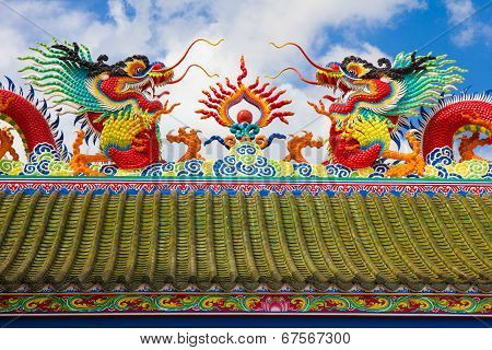 Giant Chinese Dragon With Blue Sky Background.
