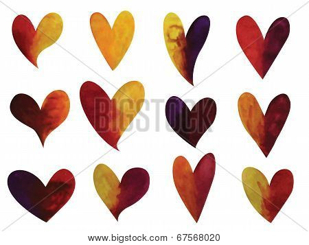 Vector set of watercolor gradient hearts