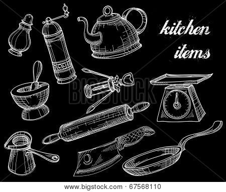 Kitchen tools collection, white over black doodles