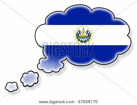 Flag In The Cloud, Isolated On White Background