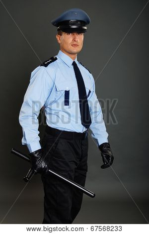 Young policeman in uniform