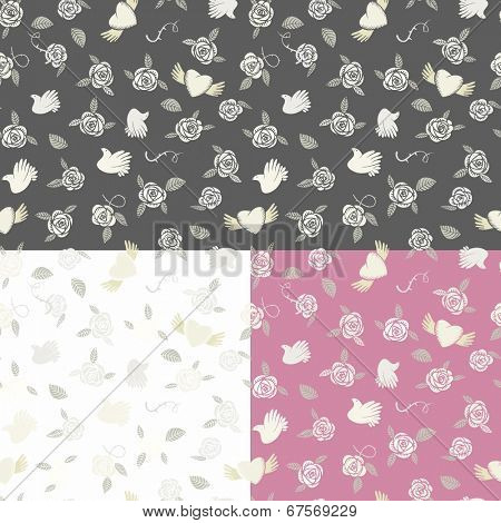 One seamless pattern on three various backgrounds