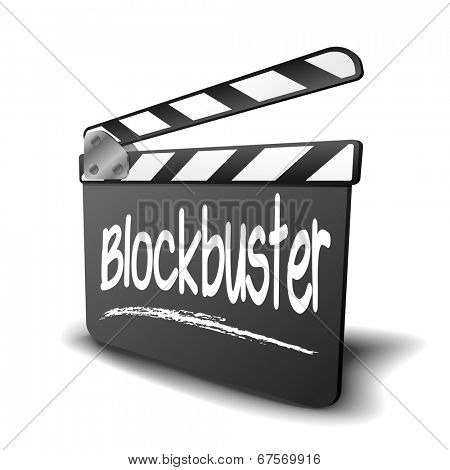 detailed illustration of a clapper board with Blockbuster term, symbol for film and video genre, eps10 vector
