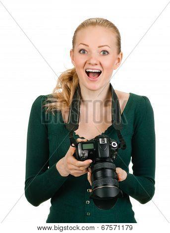 woman photographer reviewing good shot