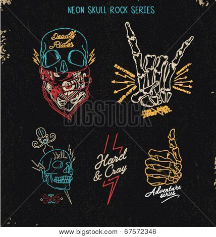 neon skull rock set