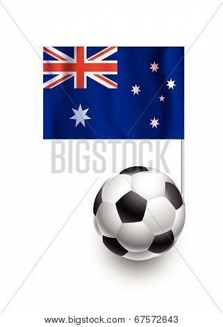Illustration Of Soccer Balls Or Footballs With  Pennant Flag Of Australia Country Team