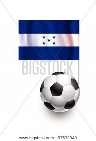 Illustration Of Soccer Balls Or Footballs With  Pennant Flag Of Honduras Country Team
