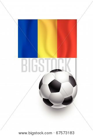 Illustration Of Soccer Balls Or Footballs With  Pennant Flag Of Romania Country Team