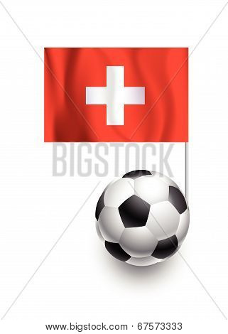 Illustration Of Soccer Balls Or Footballs With  Pennant Flag Of Switzerland Country Team