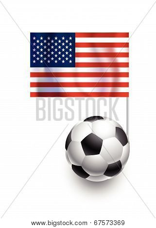 Illustration Of Soccer Balls Or Footballs With  Pennant Flag Of USA Country Team