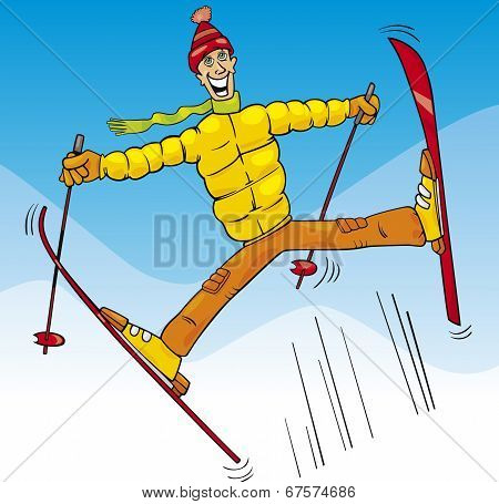 Man Jump On Ski Cartoon Illustration