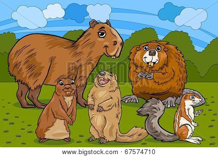 Rodents Animals Cartoon Illustration