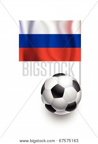 Illustration Of Soccer Balls Or Footballs With  Pennant Flag Of Russia Country Team