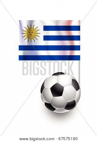 Illustration Of Soccer Balls Or Footballs With  Pennant Flag Of Uruguay Country Team