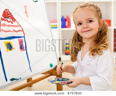 Little Artist Girl Proud Of Her Work