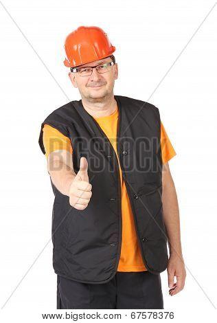 Handyman in red protective helmet.