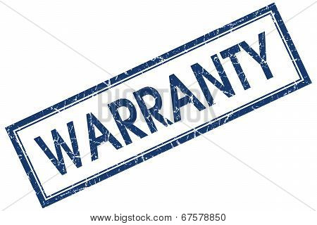 Warranty Blue Square Grungy Stamp Isolated On White Background