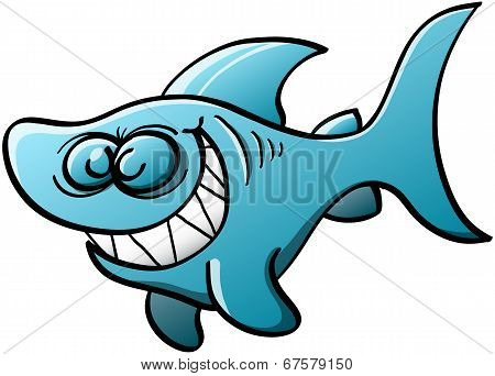 Mischiebous blue shark grinning