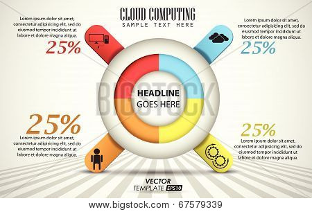 vector template 3d of 4 pieces / cloud computing / element infographic