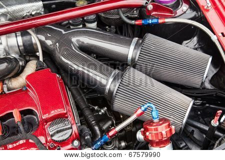 Supercharged sport car engine - under the hood