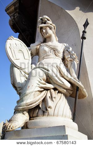 Antique goddess with emblem of Buda town on the shield, Budapest, Hungary