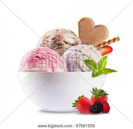 Studio shot of ice cream in bowl, isolated on white background