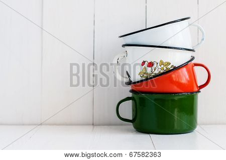 Three Bright Colorful Enameled Mugs