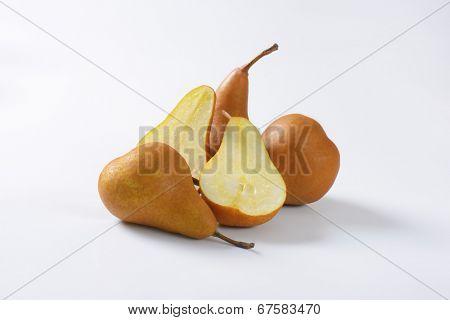 halved pears