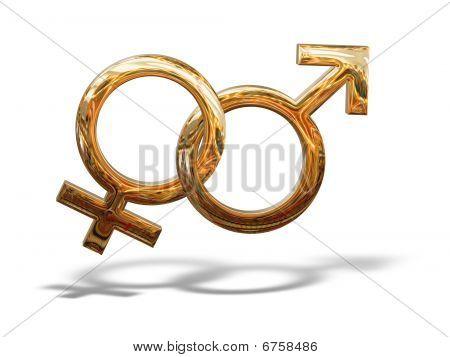 Golden Pattern Gender Sex 3D Symbols Isolated