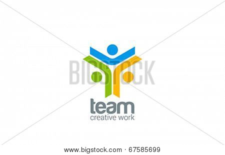 Team work vector logo design. Internet outernet teamwork symbol.  Team, friendship, partnership,
