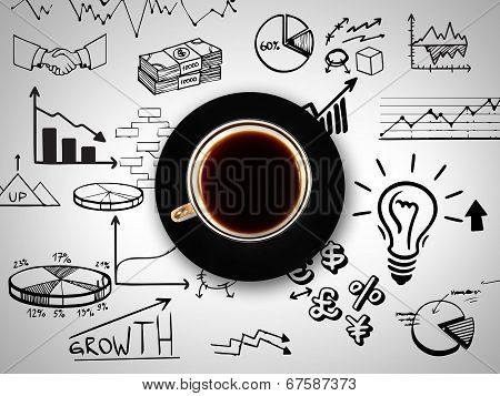 Cup Of Coffee On Background Of Business Strategy