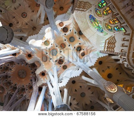 BARCELONA, SPAIN - APRIL 29: Sagrada Familia is a large Roman Catholic church in Barcelona, Spain, designed by Catalan architect Antoni Gaudia­.  Detail of the roof in the nave on April 29, 2012.