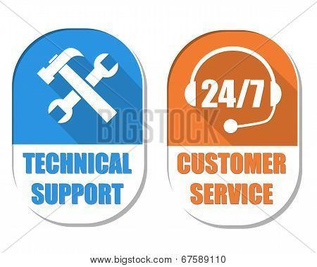 Technical Support With Tools Sign And 24/7 Customer Service, Two Elliptical Labels